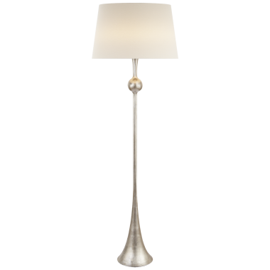 Торшер Dover Floor Lamp in Burnished Silver Leaf with Linen Shade