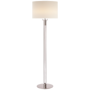 Торшер Riga Floor Lamp in Clear Glass and Polished Nickel with Linen Shade