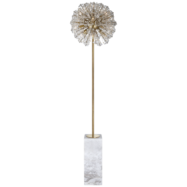 Торшер Dickinson Floor Lamp in Soft Brass and White Marble with Clear Glass and Cream Pearls