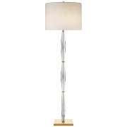 Торшер Castle Peak Narrow Floor Lamp in Crystal with Cream Linen Shade