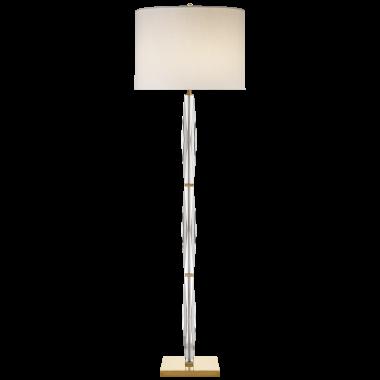 Торшер Castle Peak Narrow Floor Lamp in Crystal with Cream Linen Shade