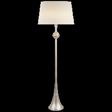 Американский Напольный светильник Dover Floor Lamp in Burnished Silver Leaf with Linen Shade