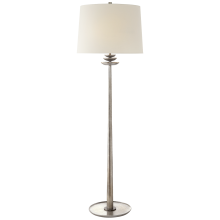 Торшер Beaumont Floor Lamp in Burnished Silver Leaf with Linen Shade